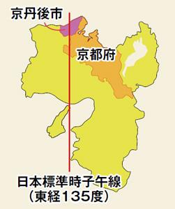 京丹後市と子午線